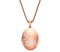 Halskette 'Medaillon' rosegold / weiß