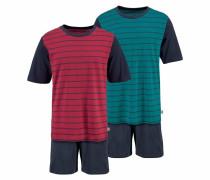 Pyjamas kurz petrol / rot