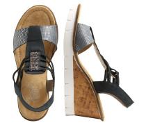 Keil-Sandalette blau / hellgrau
