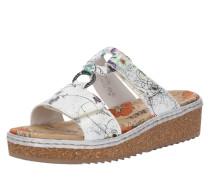 Slipper 'Sandale' beige / silbergrau / weiß