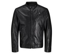 Minimalistische Lederjacke schwarz
