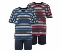 Pyjama kurz mit V-Ausschnitt navy / rot