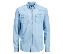 Denim-Slim-Fit-Langarmhemd blue denim
