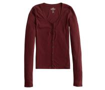 Shirt 'LS Slim Henley' burgunder