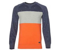 Sweatshirt marine / graumeliert / orange