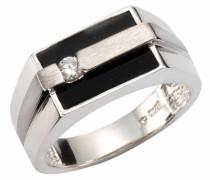 Silberring schwarz / silber / weiß