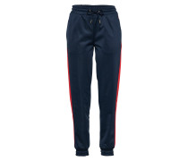 Stoffhose 'Cuff Track' navy / rot