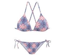 Triangel-Bikini blau / pastellrot