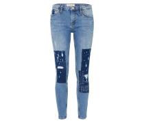 Jeans mit Patches blue denim