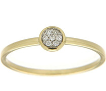 Diamantring 'Ringkopf rund bicolor' gold