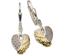 Ohrhänger »Herz mit Engelsflügel« mit Zirkonia