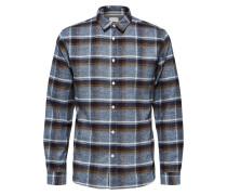 Hemd blau / braun / grau