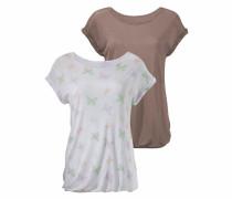 T-Shirts (2 Stück) taupe / weiß
