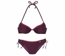 Push-up-Bikini mit Häkelkante aubergine