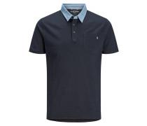 Brusttaschen Poloshirt blau