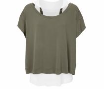Shirt oliv / weiß