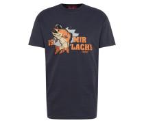 Shirt 'Is mir Lachs' navy / orange