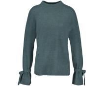 Pullover mit Schleifen-Details grünmeliert