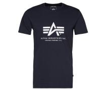 Print-Shirt navy / weiß