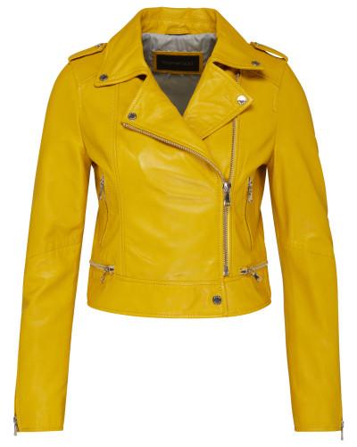 Biker-Lederjacke gelb