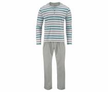 Pyjama lang creme / grau / jade
