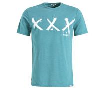 T-Shirt 'Uslo Tripplex' jade / weiß