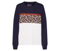 Sweatshirt navy / braun / weiß