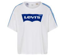 T-Shirt 'graphic J.v.' blau / weiß
