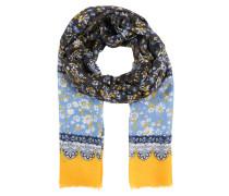 Schal mit Blumen-Print blau / gelb