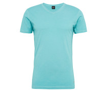 V-Shirt in garment dyed 'Trace' türkis
