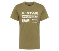 Shirt 'Graphic 8' khaki / weiß