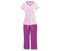 Capri-Pyjama lila / weiß