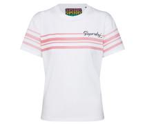 T-Shirt 'Leona' rosa / weiß