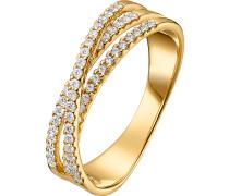 Damenring 'Diamonds' gold / weiß