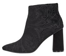 Gemusterte Ankle Boots schwarz
