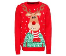 Pullover 'family Reindeer' grün / rot