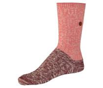 Slub Block Socken rosa / dunkelrot