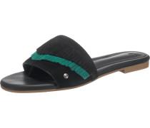 Pantoletten 'Binx' grün / schwarz
