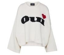 Pullover creme / rot / schwarz