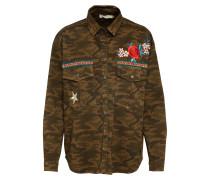 Jacke mit Stickereien khaki / oliv