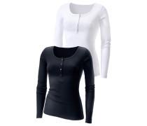 Feinripp-Langarmshirt schwarz / weiß