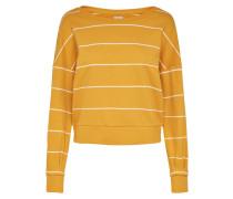 Gestreiftes Sweatshirt goldgelb / weiß