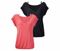 Shirts (2 Stück) dunkelblau / koralle