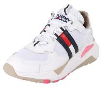 Sneaker beige / navy / weiß / rot