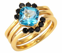 Fingerring blau / gold / schwarz