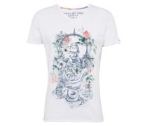 T-Shirt 'MT Buddha v-neck' grau / weiß