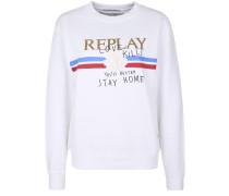 Sweatshirt mit Label-Aufdruck weiß