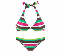 Bikini braun / grün / neongrün / pink