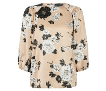 Bluse 'champagne Floral Balloon Sleeve'