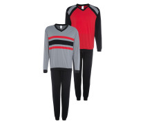 Pyjama grau / rot / schwarz